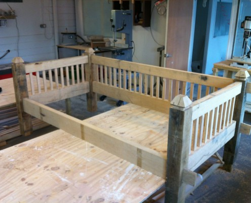 Oak daybed during construction